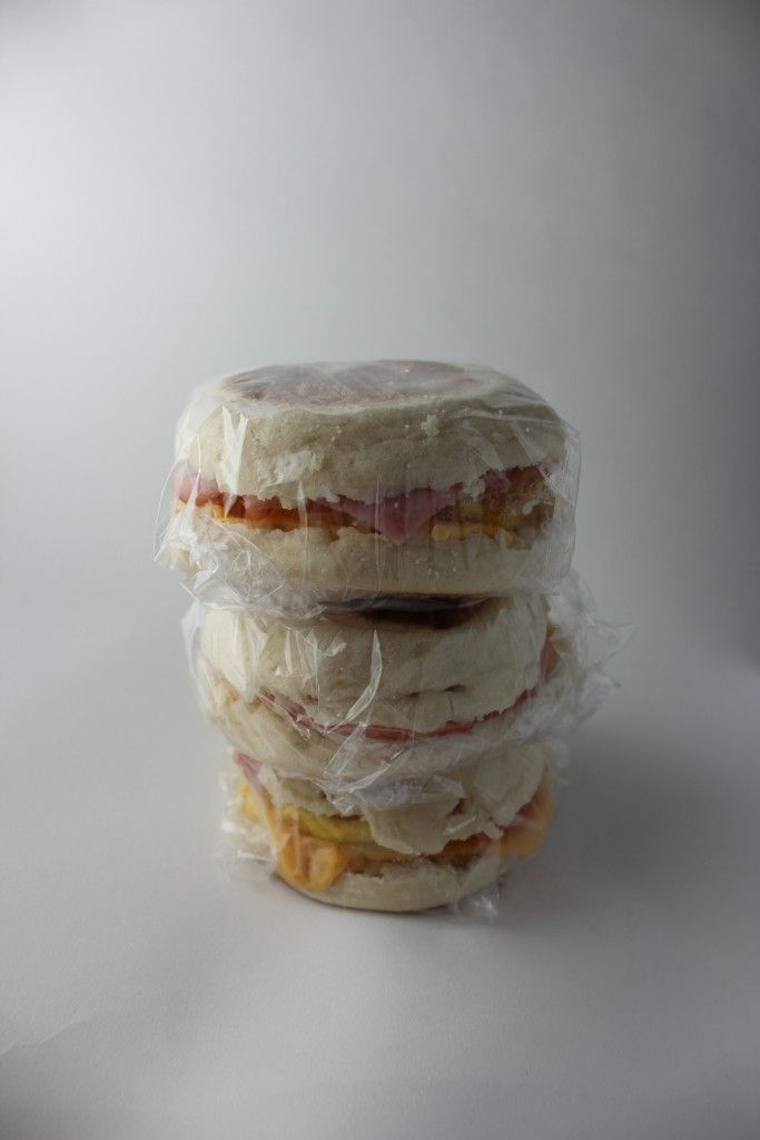Meal prep - six egg, cheese & man sandwiches for fridge/freezer.