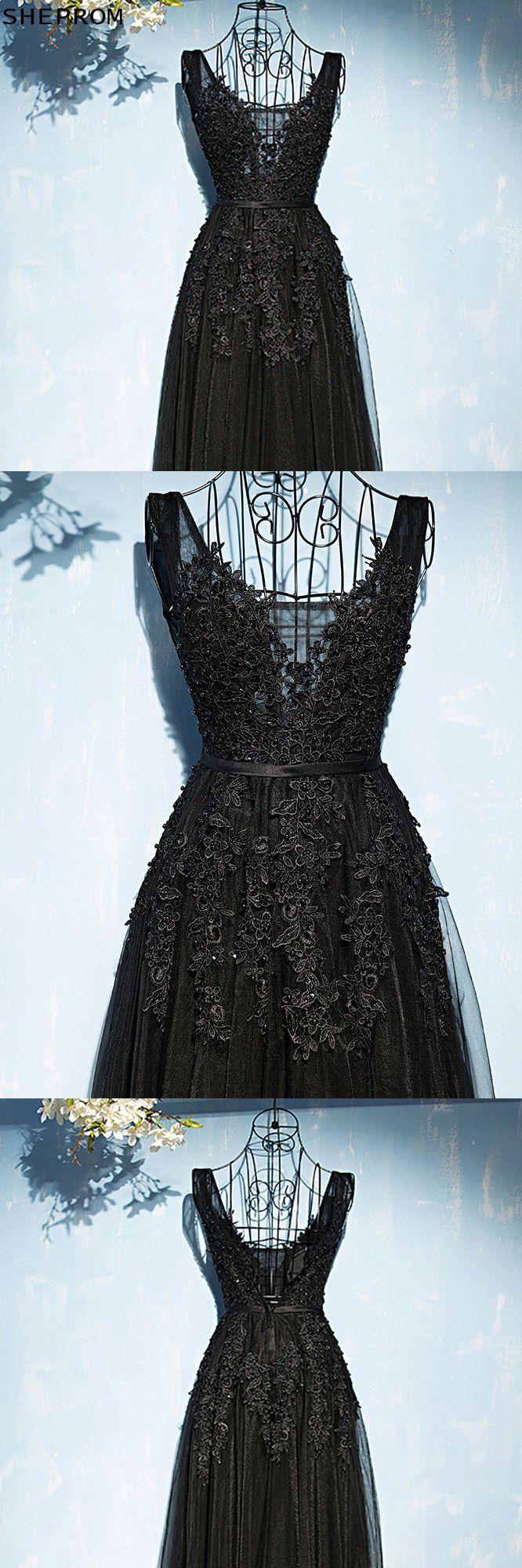 Classic long black lace tulle prom dress vneck sleeveless