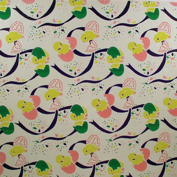 Colorful chicks n eggs vintage easter gift wrap wrapping paper colorful chicks n eggs vintage easter by holidaykitschklatsch negle Image collections