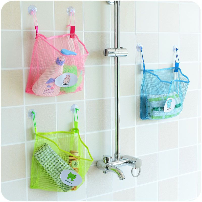 Honana BC 930 Polyester Transparent Cartoon Bathroom Sucker Hanging Storage  Mesh Bag Toys Cosmetics