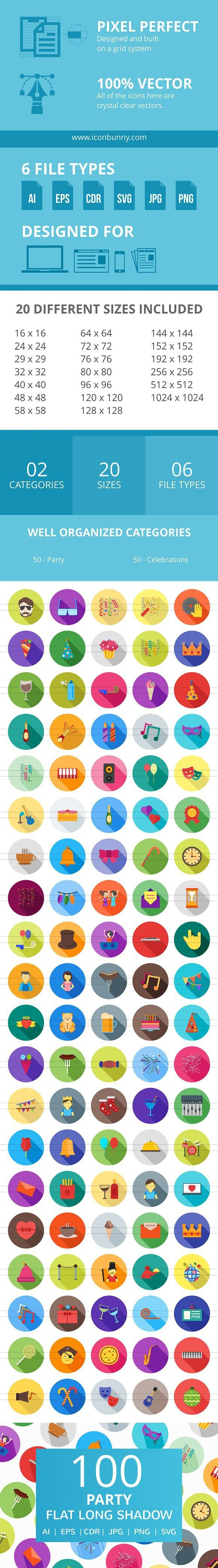 100 Party Flat Long Shadow Icons Flat icon, Bakery icon