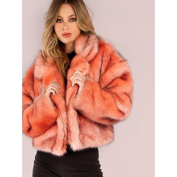 0f2954e46c SheIn(sheinside) Pink Stand Collar Open Front Faux Fur Coat (120 BAM) ❤  liked on Polyvore featuring outerwear, coats, orange, long sleeve coat, faux  fur ...