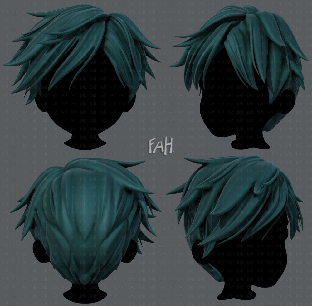 Vr Ar Ready 3d Hair Style For Boy V43 Cgtrader Anime Boy Hair Boy Hairstyles Character Modeling