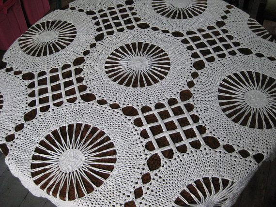 Amazing!Spectacular Tablecloth Cotton Crocheted by MyVictorianCottage, $44.00