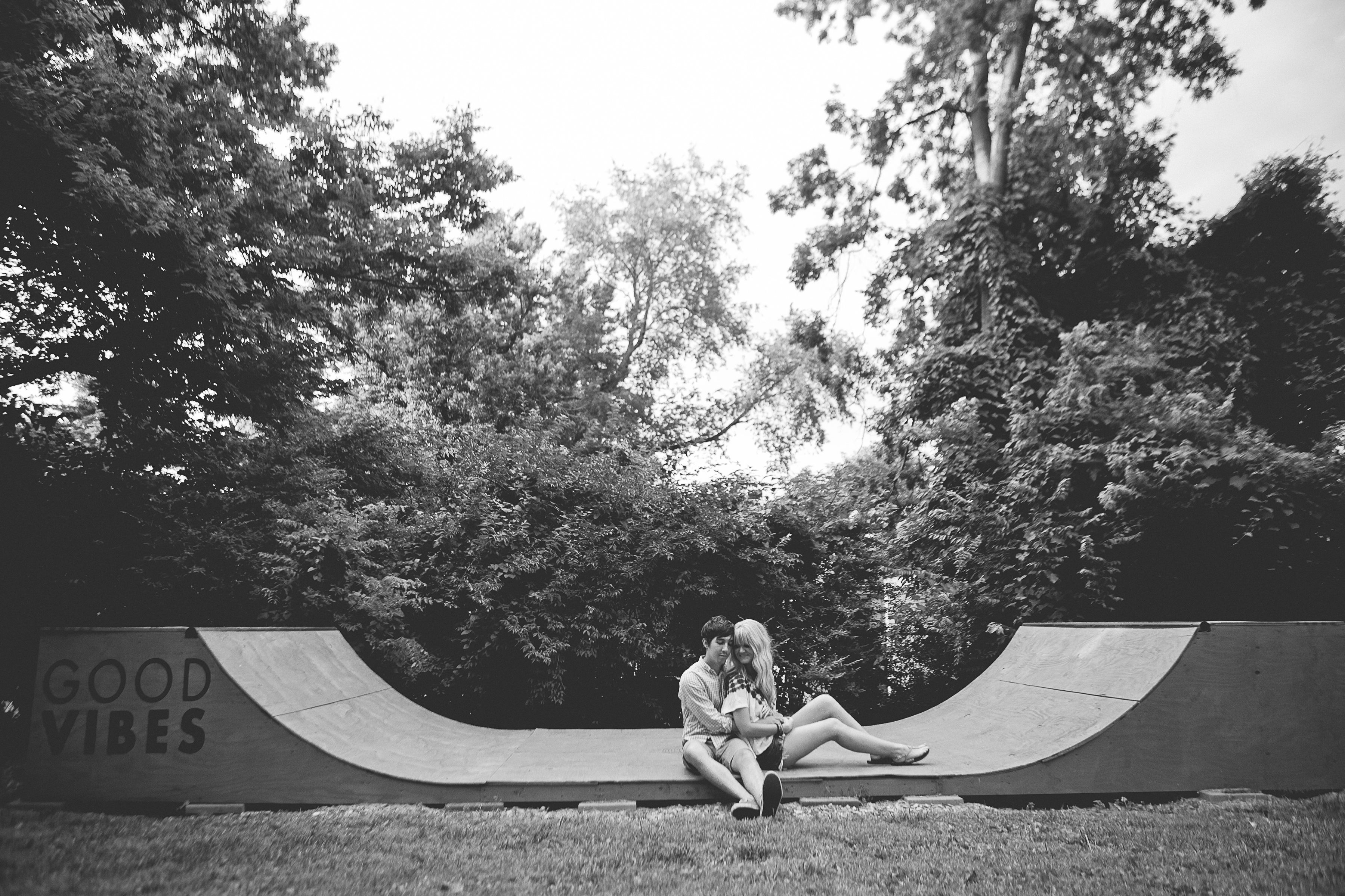 engagement picture by byshea com good vibes backyard skate