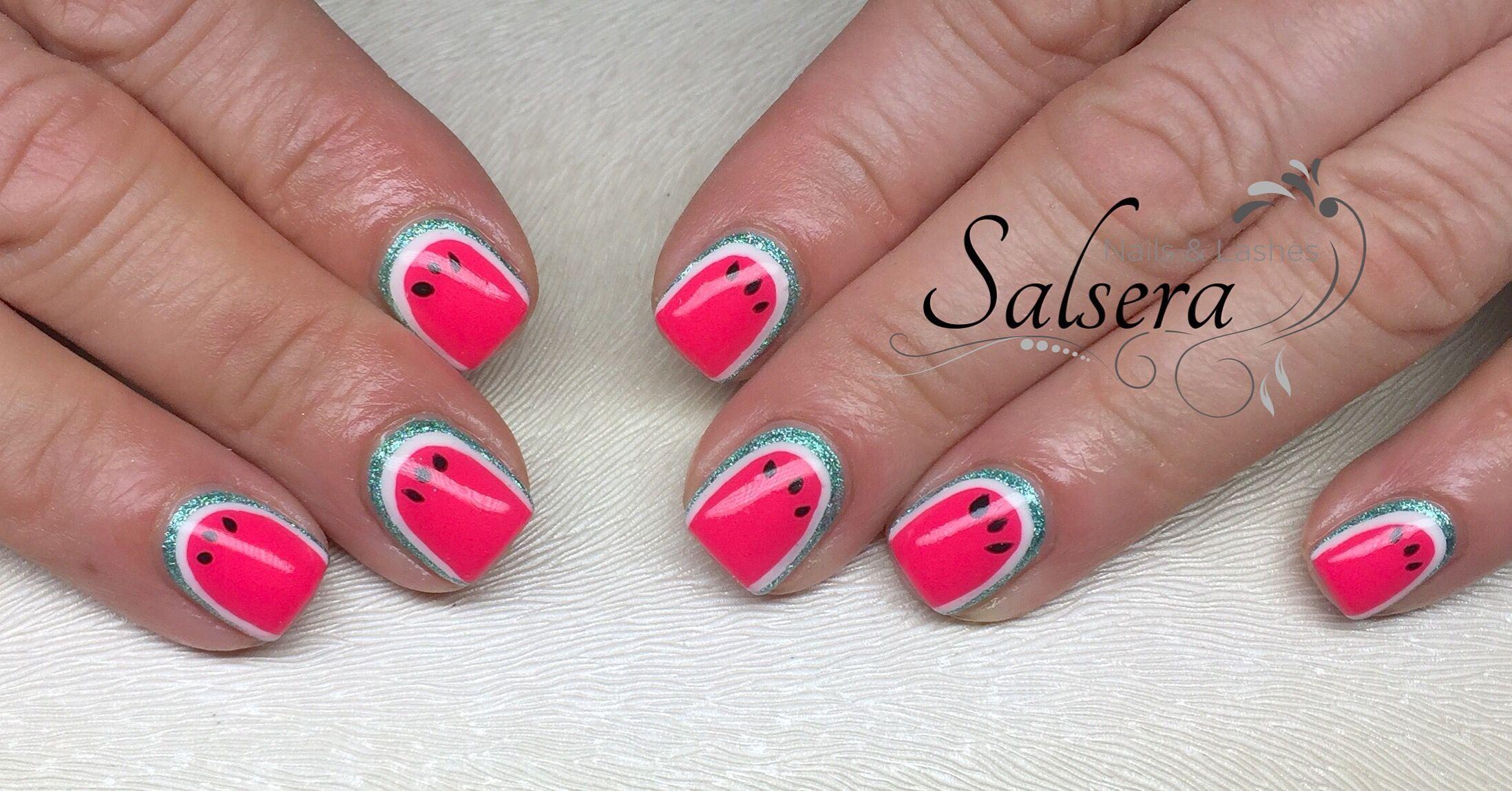 Nails Nägel Nageldesign Beauty Wassermelone Design Art Nailart Pink ...
