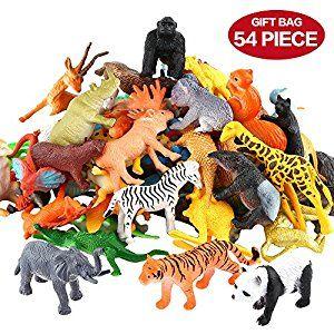Amazon Com Animals Figure 54 Piece Mini Jungle Animals Toys Set