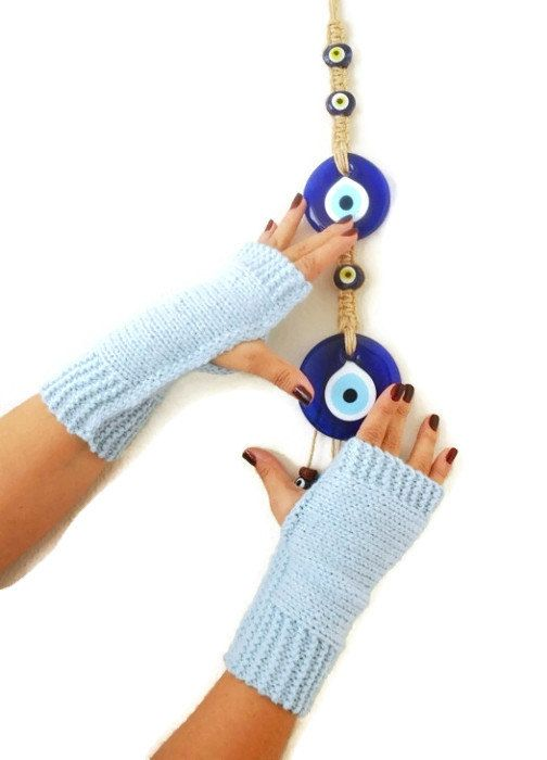 FINGERLESS Baby Blue Fingerless Gloves, Wool Mittens, Arm Warmers , Hand Knitted, Eco Friendly , Winter Accessories BUY 2 PRODUCTS and GET EXPRESS SHIPPING Buy 2; get EXPRESS shipping and a special GIFT!