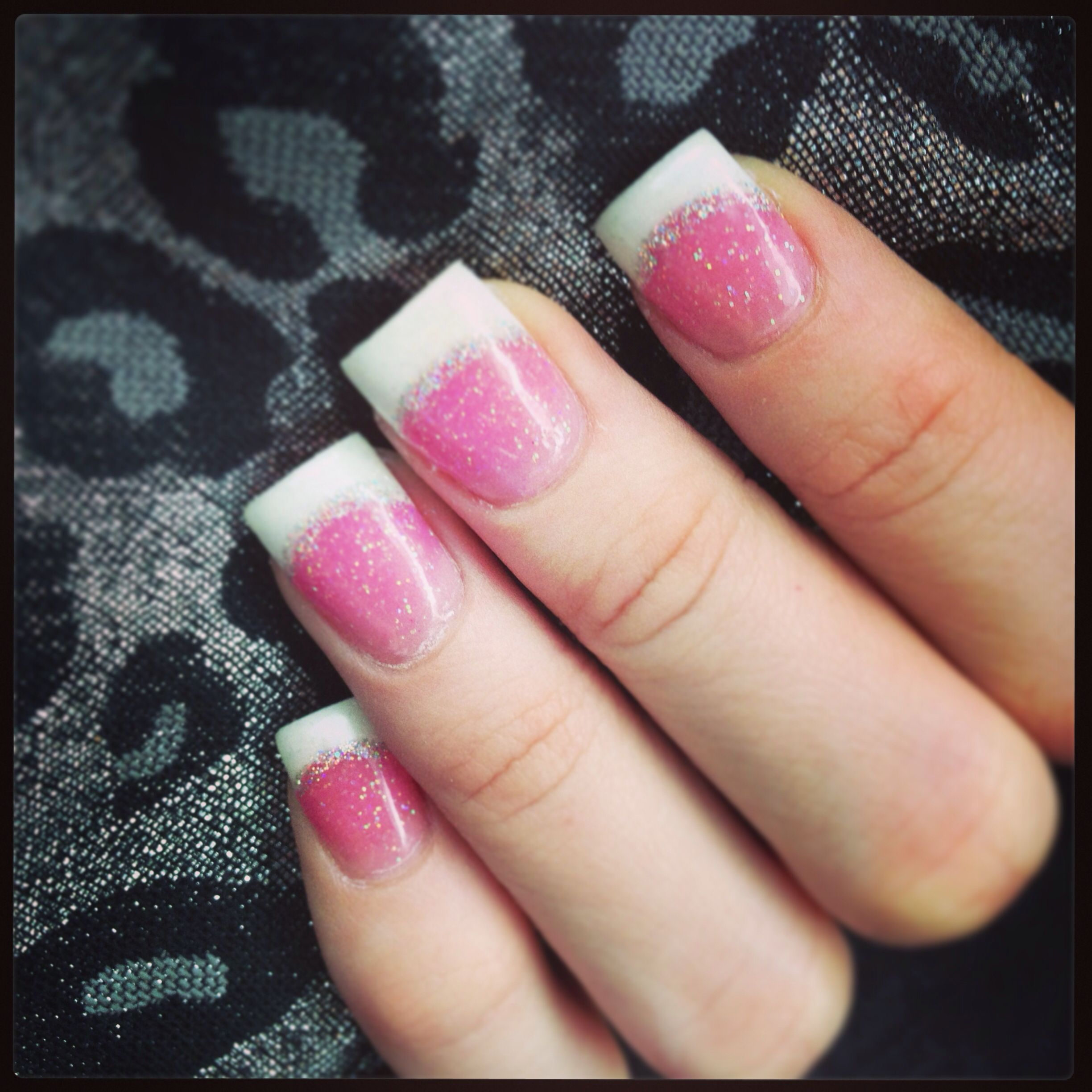 Pink and White with Glitter Acrylic Nails | Nails by Cao | Pinterest ...