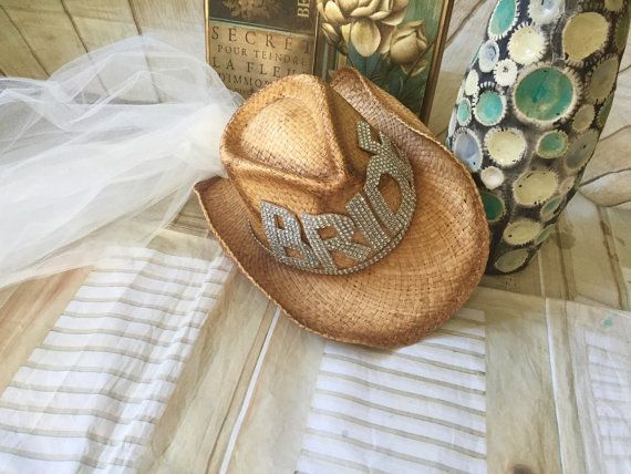 Cowgirl Bride Cowboy Hat Bling Bride Hat With Veil Bachlorette Party Cowgirl Bride Bling Bachelorette Party Ideas Cowgirl Bachelorette
