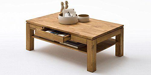 Couchtisch Holz Massiv Eiche mit Schublade Massivholz Wohnzimmer - wohnzimmertisch eiche massiv