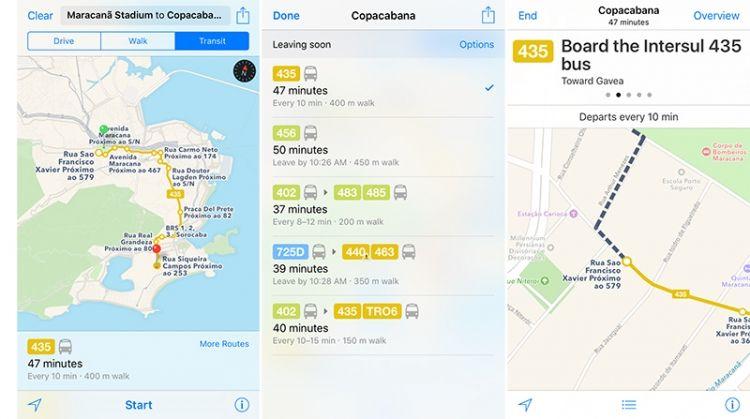 Apple Maps aggiunge le info sui trasporti pubblici in tempo reale per le Olimpiadi 2016 di Rio de Janeiro