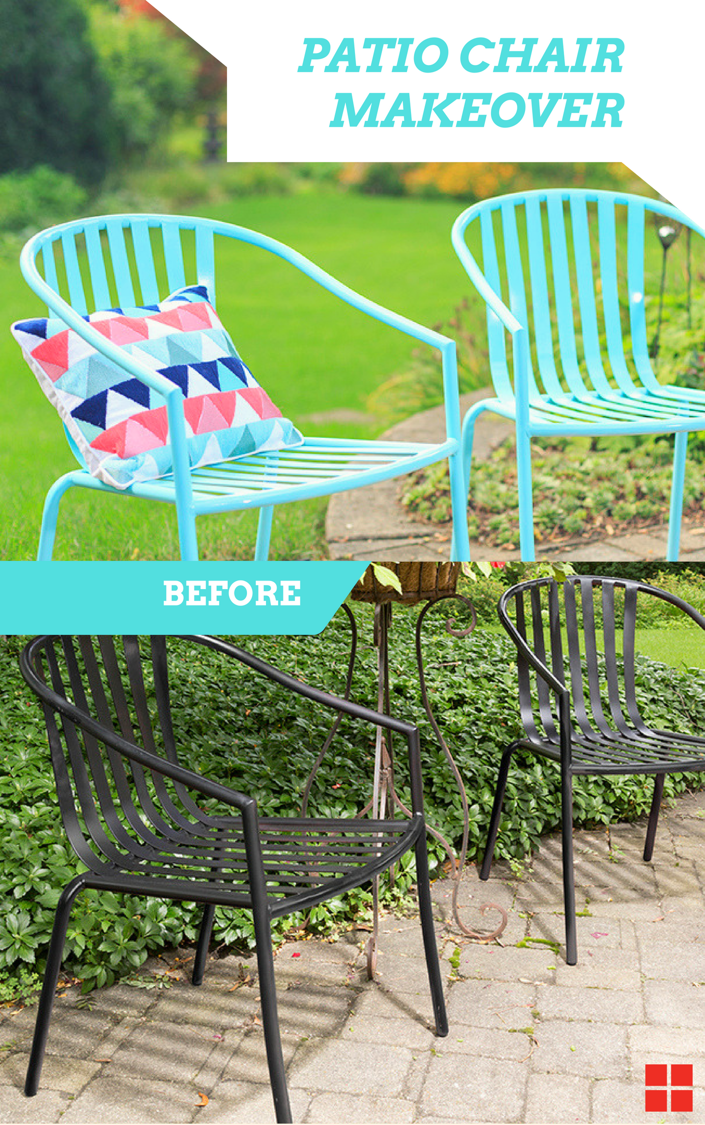 Sit In Style This Summer These Easy Turquoise Patio Chairs Can Be Made In Just A Few Simple Steps This Patio Chairs Diy Patio Furniture Patio Chairs Makeover