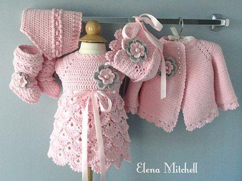 Häkeln Baby Kleid häkeln Baby Strickjacke gestrickt Baby Mädchen ...
