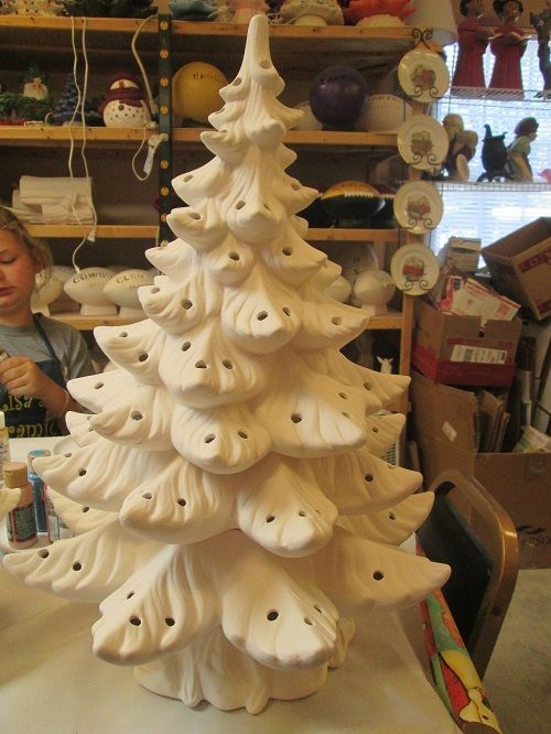 Ready To Paint Ceramic Bisque 25 Christmas Tree Lights Included