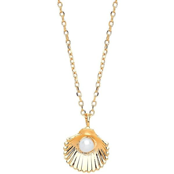 Estella Bartlett Shell Freshwater Pearl Pendant Necklace Rose Gold