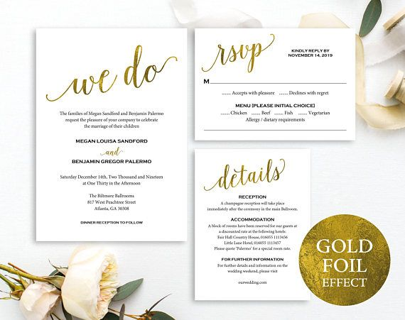faux gold wedding invitation set template we do gold wedding