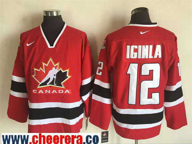 2002 Winter Olympic Team Canada 12 Iginla Red Hockey Throwback Jerseys