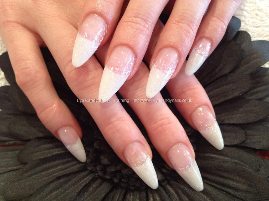 Stiletto White Tips With Glitter Nail Art With Images Simple