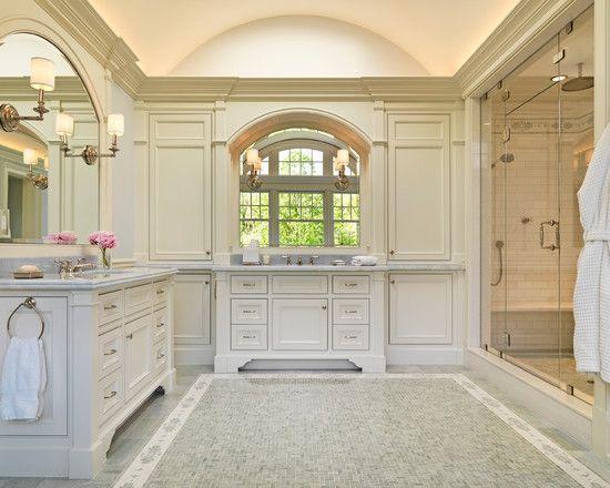 traditional white baths | Sleek Traditional Master Bathrooms White Vanity Large Mirror Room ...