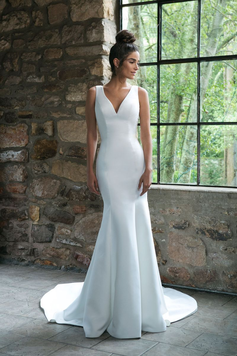 Sincerity bridal style satin trumpet gown with back bow