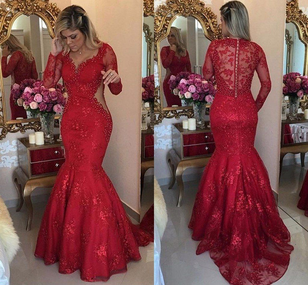 Red prom dresses mermaid lace formal dresses vneck party