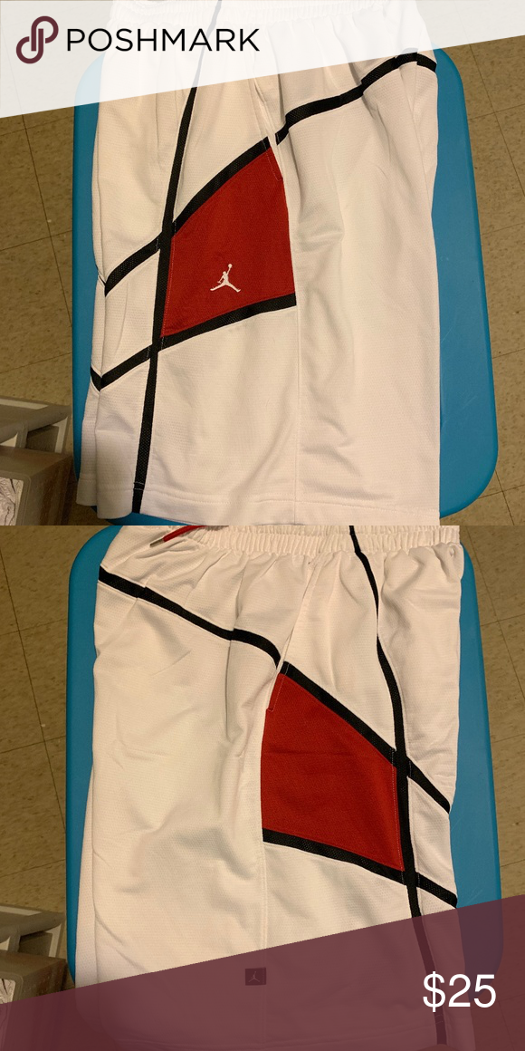 ca78e738f139bf Jordan Men s Basketball Shorts White Black Red - Jordan Men s Basketball  Shorts - Size Large Jordan Shorts Athletic