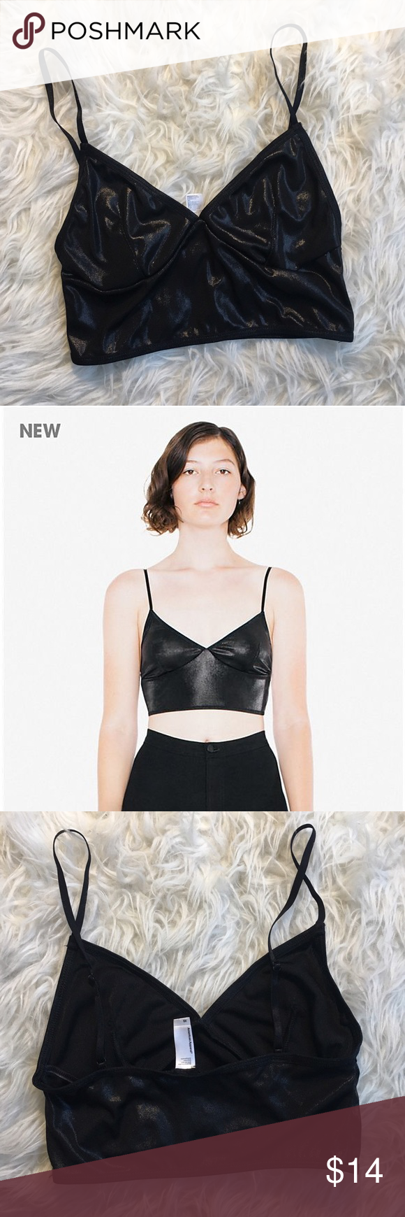 9ed07cbbf32bf American Apparel Metallic Crop Sofia Bralette XS American Apparel Metallic  Jersey Sofia Bralette in black. Size XS. New without tags