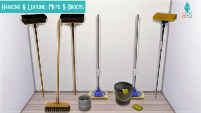 My Sims 4 Blog: Hanging & Leaning: Mops & Brooms by Ajoya