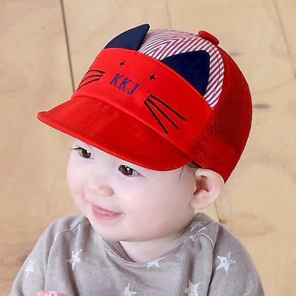 c27adf2eaab Cute Cartoon Cat Summer Hat Baseball Cap For Infant Boy or Girl - Soft  Cotton Cap With Visor