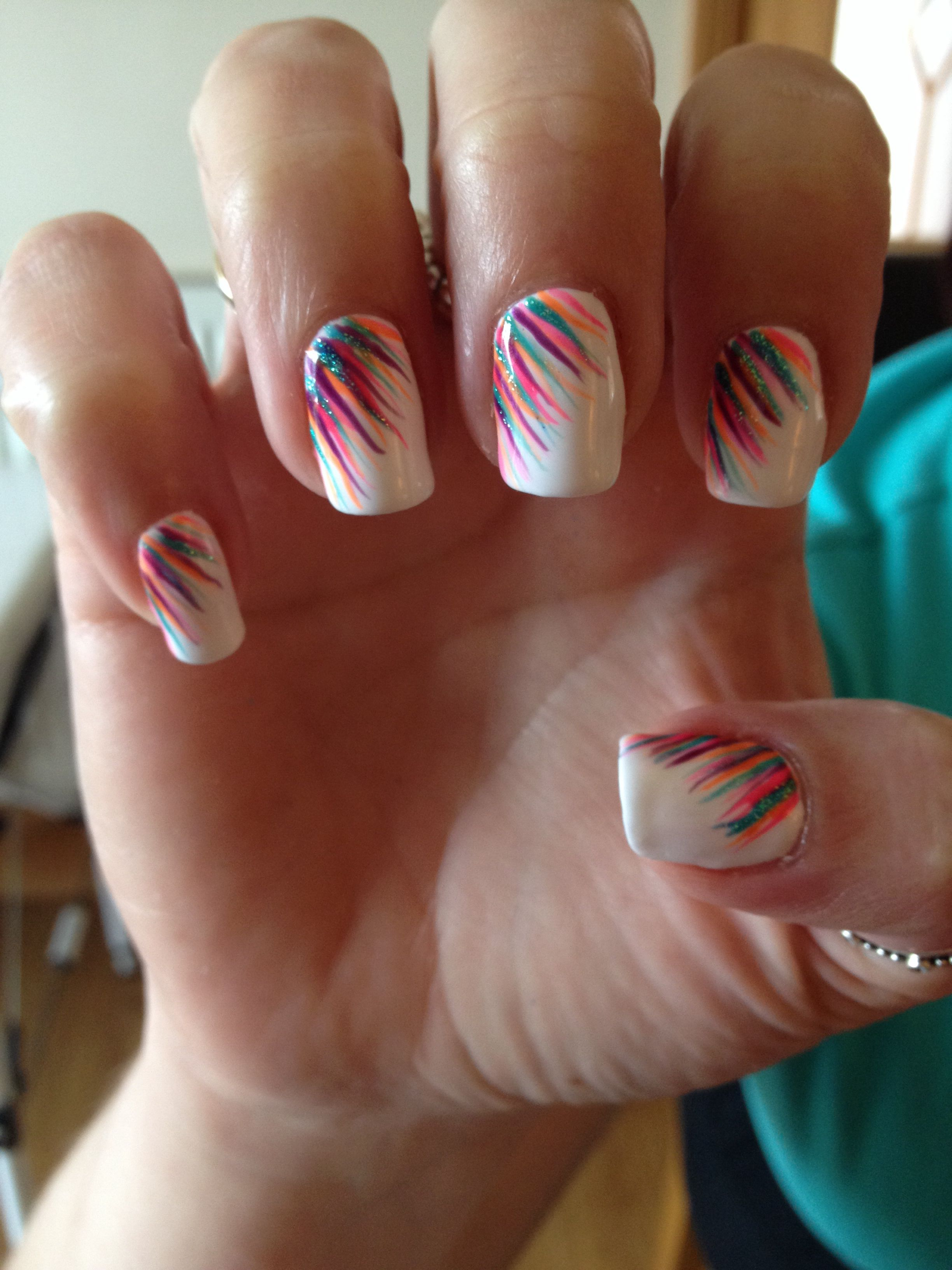 White summer neon gelish nails holiday multicoloured festival ...