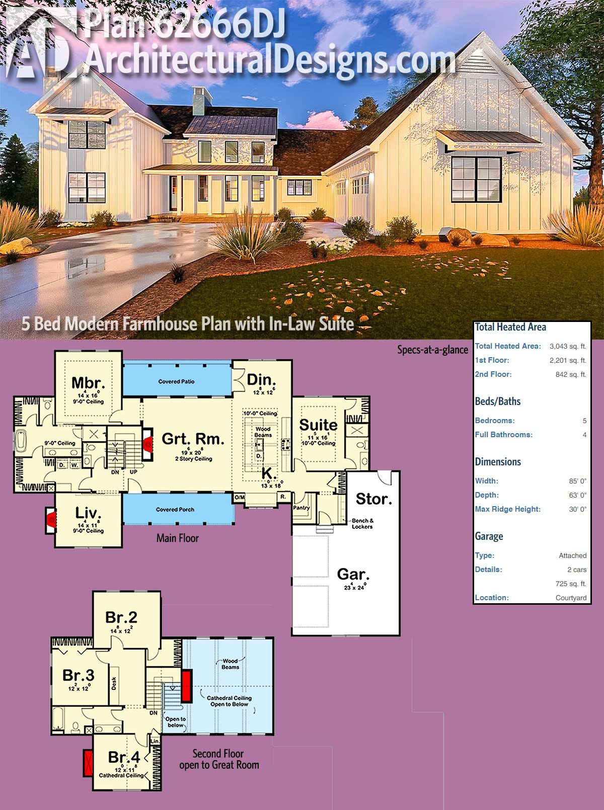 Plan 62666dj Five Bedroom Modern Farmhouse With In Law Suite Modern Farmhouse Plans Farmhouse Style House Plans Farmhouse Plans
