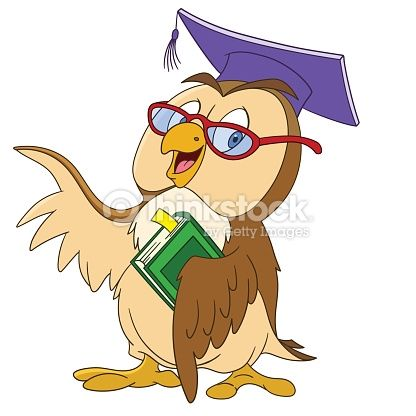 cute educated cartoon owl in a graduation cap and glasses is ...