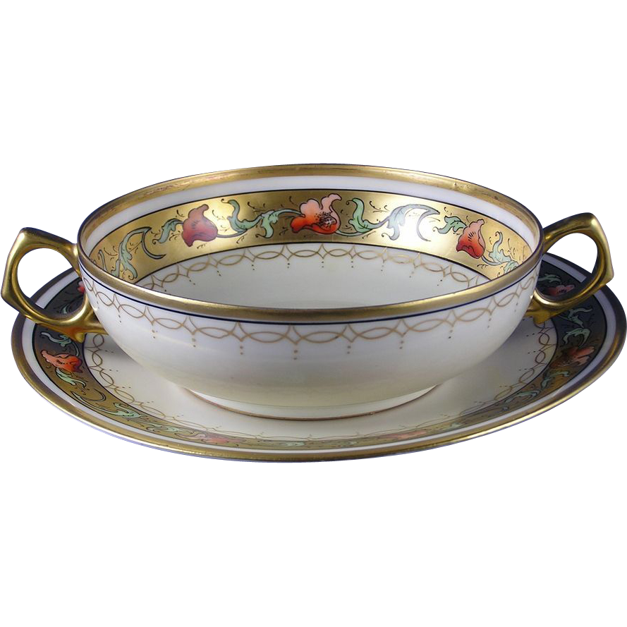 Tu0026V Limoges u0026 Limoges Mark 6 Pickard Studios Tomascheko Poppy Borderu201d Design Handled Soup Bowl u0026 Plate Set (c.1905-1910)  sc 1 st  Pinterest : soup bowl and plate set - pezcame.com
