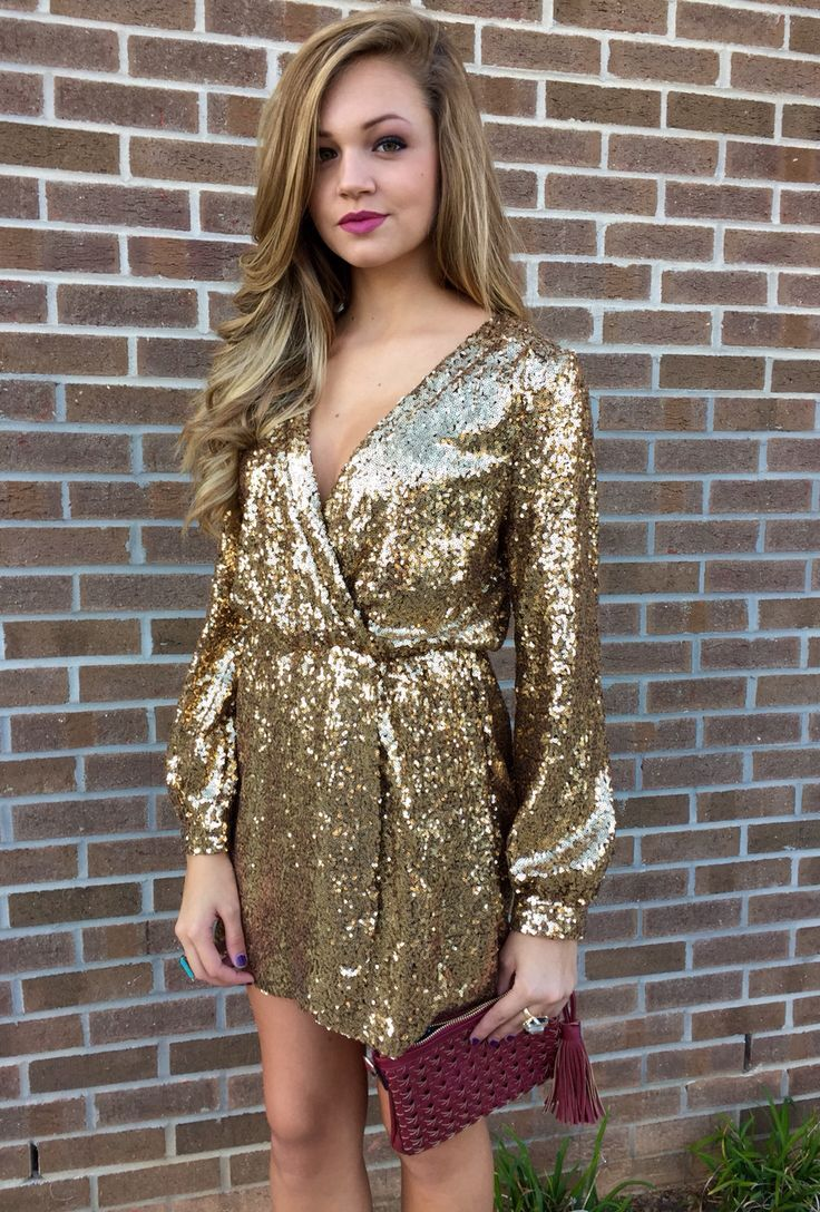 Aline vneck long sleeves short gold sequined homecoming party
