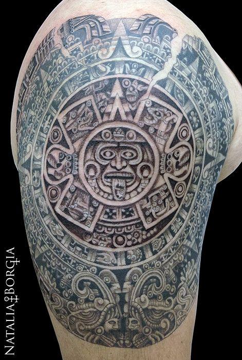 Aztec calendar tattoo. | Skin Art | Mayan tattoos, Tattoos ... Aztec Calendar Sleeve Tattoos