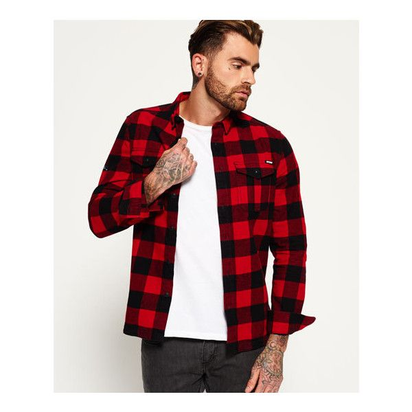 8630448676 Superdry Rookie Plaid Shirt (82 CAD) ❤ liked on Polyvore featuring men s  fashion