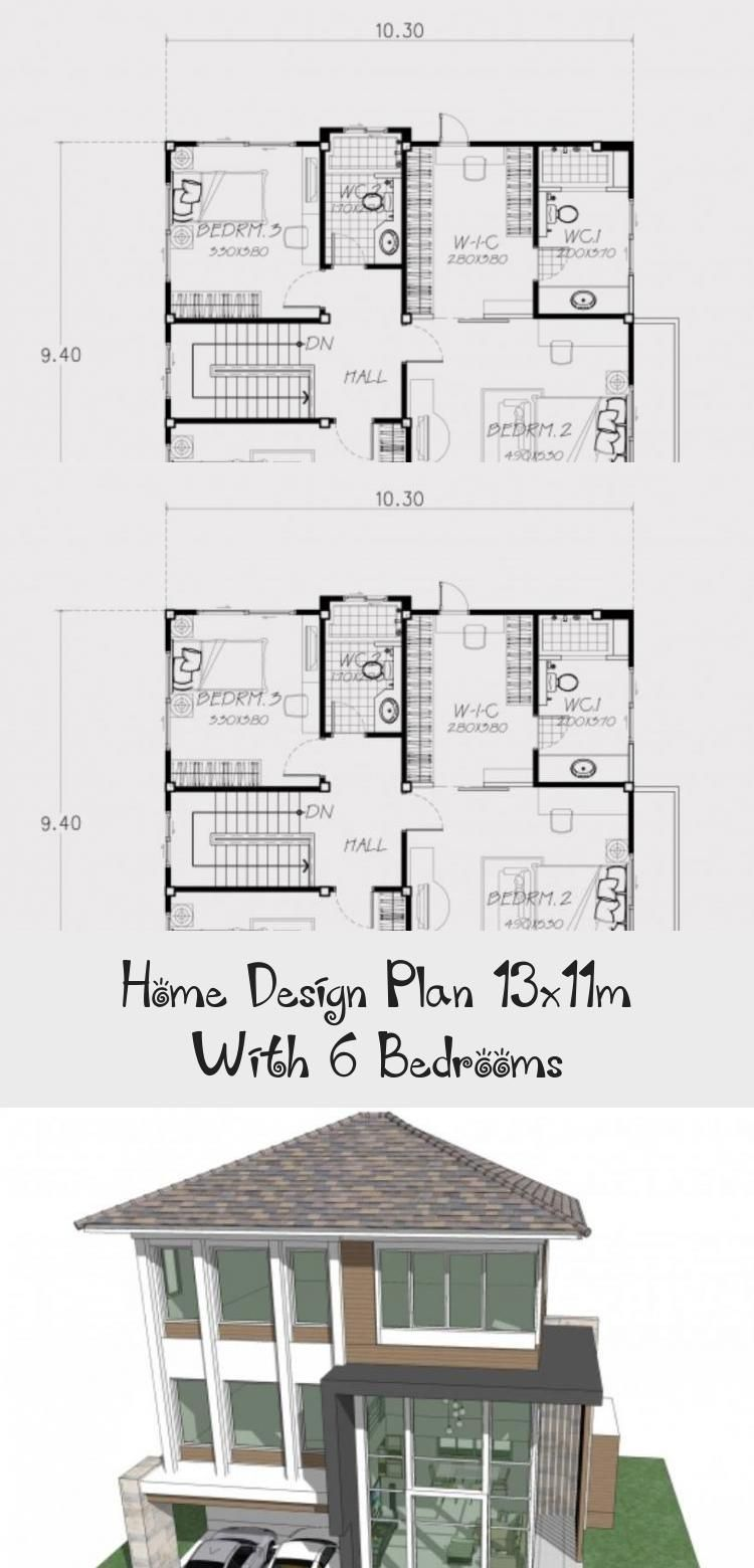 Home Design Plan 13x11m With 6 Bedrooms Home Design With Plansearch Modernhousedesignfloorplan Modernhous In 2020 Home Design Plan House Design Modern House Design