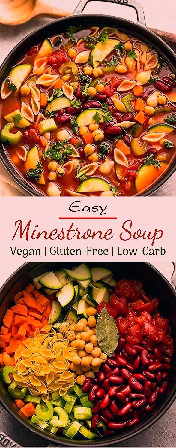 Easy Minestrone Soup #vegetarian #comfortfood