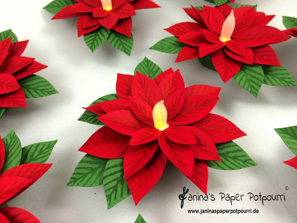 Photo of Weihnachtsstern Teelicht / Poinsettia tea light – inkl. Anleitung am Ende des Beitrages – Janina's Paper Potpourri