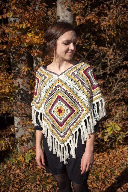 Gehäkelter Poncho aus Granny Squares | todo crochet | Pinterest ...