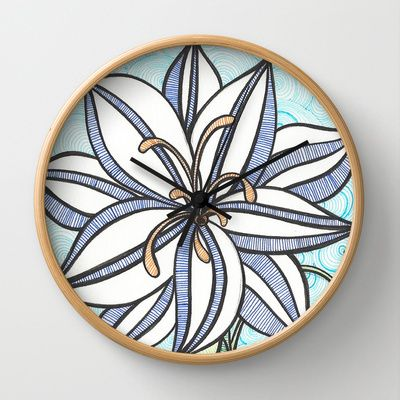 Blue Flowers  Wall Clock by Candy Heart Whimsy - $30.00