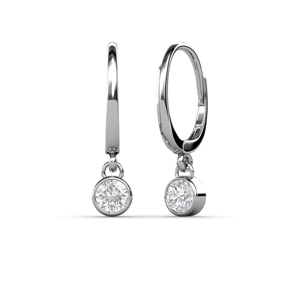 FIT 18k white gold filled ladies White pearl White sapphire dangle earring
