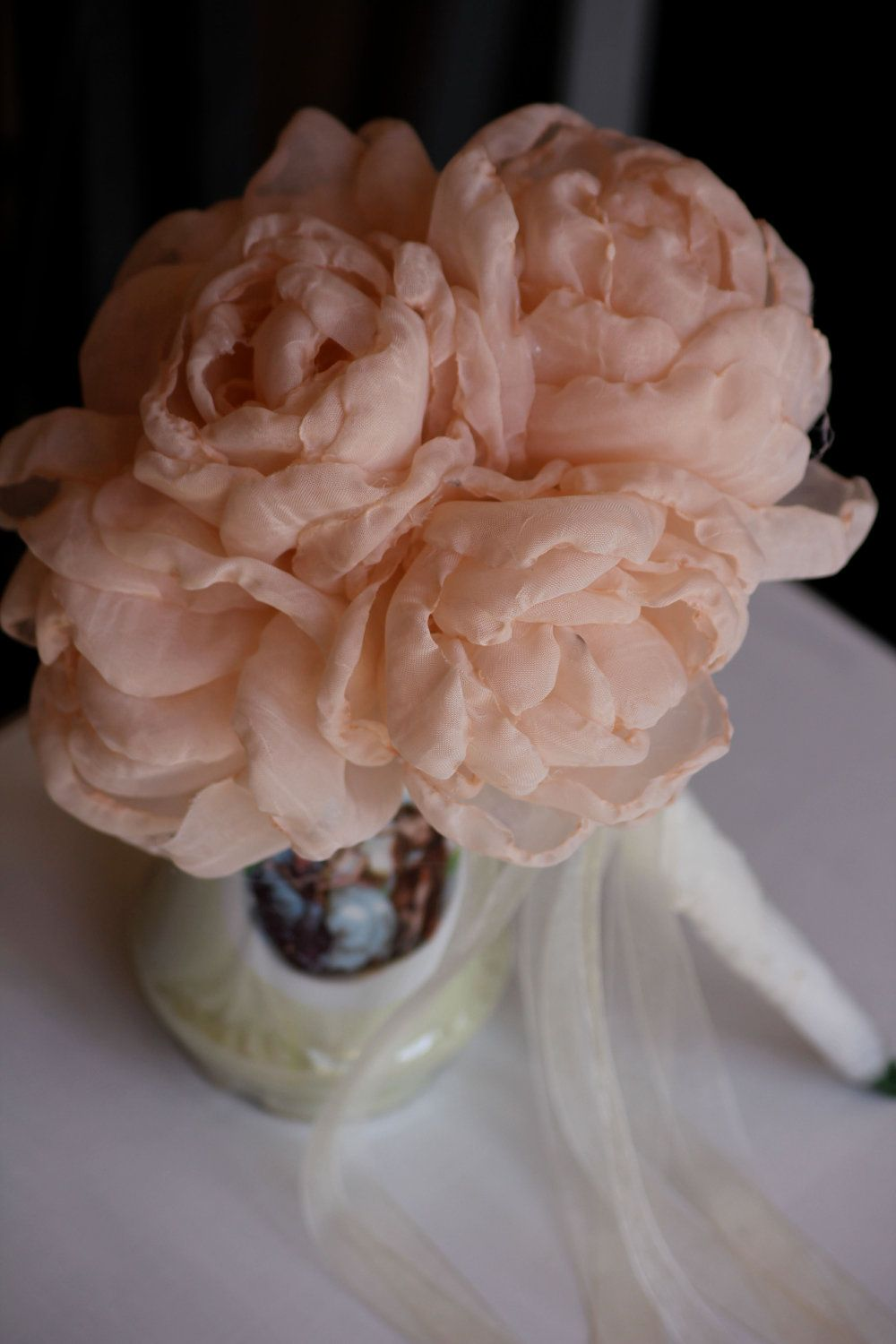 Fabric flowers bouquet delicate handmade fabric flowers beautiful fabric flowers bouquet delicate handmade fabric flowers beautiful shabby chic pale pink peonies bridal izmirmasajfo Image collections