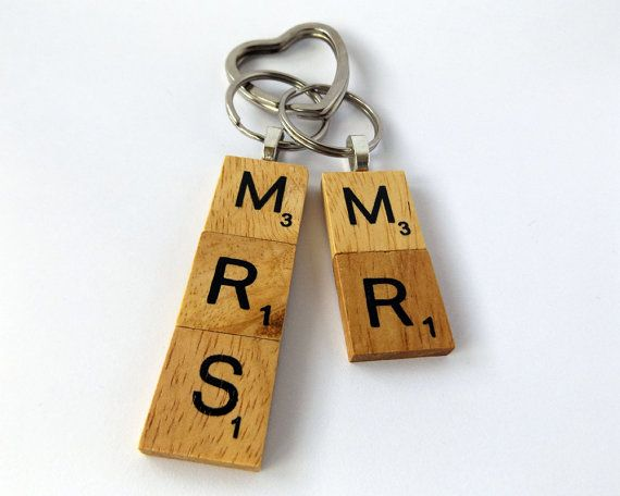 Mr mrs wooden keyring gift set wedding wooden by wrenshandiwork