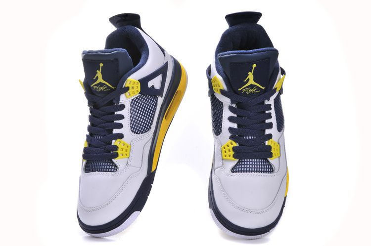 Mens Air Jordan Retro 4 White Blue shoes
