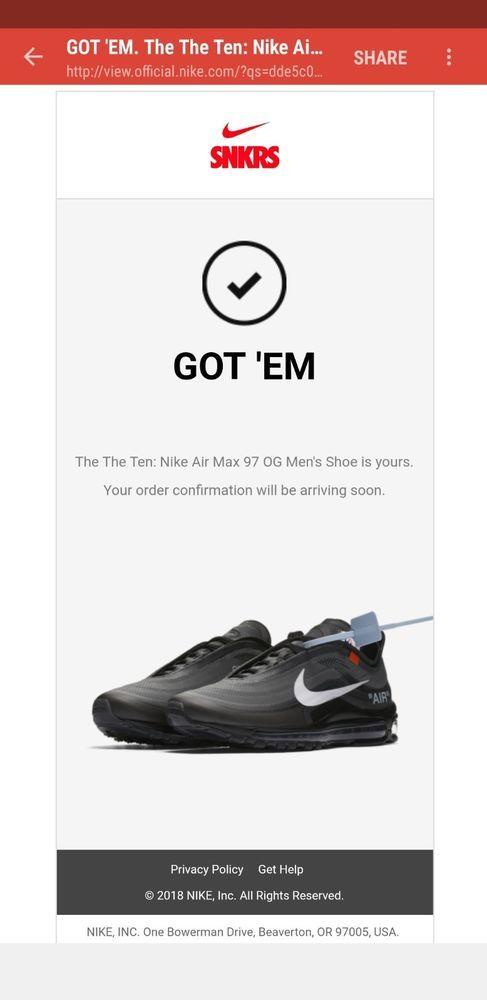 Nike Air Max 97 OG The Ten Off White SNKRS 9.5 black 100