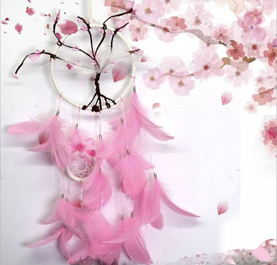 Pink Cherry Blossom Dreamcatcher Gifts For Her Christmas Etsy Feather Dream Catcher Dream Catcher Hanging Wall Decor