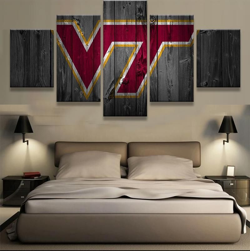 Visit to Buy 5 Pieces Virginia Tech Hokies Wall Art Picture Modern
