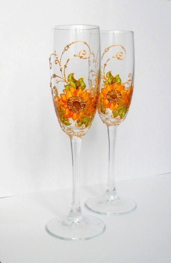 Hand Painted Champagne Glasses Sunflower Wedding Flutes Personalised